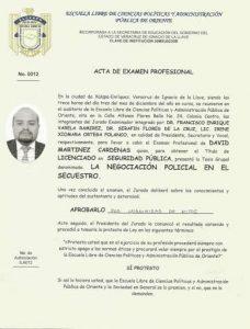 Acta de examen profesional mexico