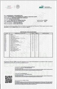 Certificado total de estudios