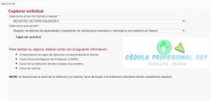 Captura de solicitud registro de especialidades cedula profesional sirpe