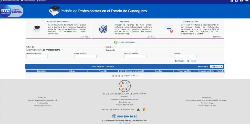 Portal web padron profesionistas guanajuato