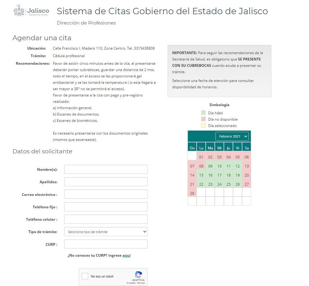 Agendar cita cedula profesional Jalisco preregisro paso 2