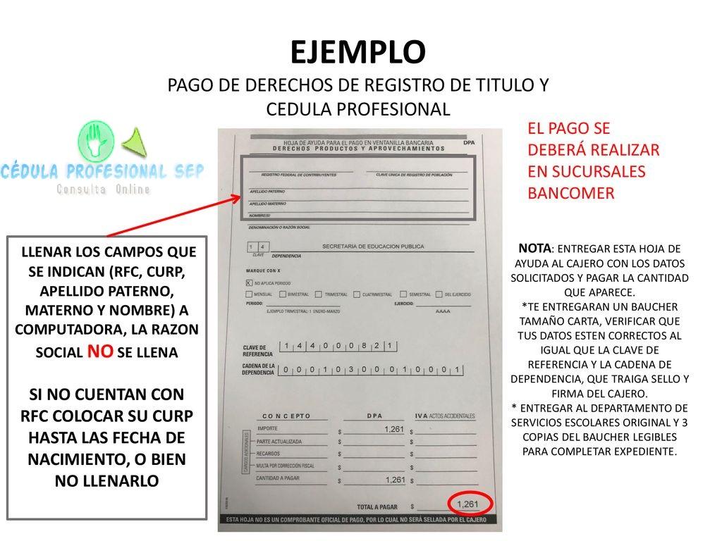 PAGO DE DERECHOS DE REGISTRO DE TITULO Y CEDULA PROFESIONAL